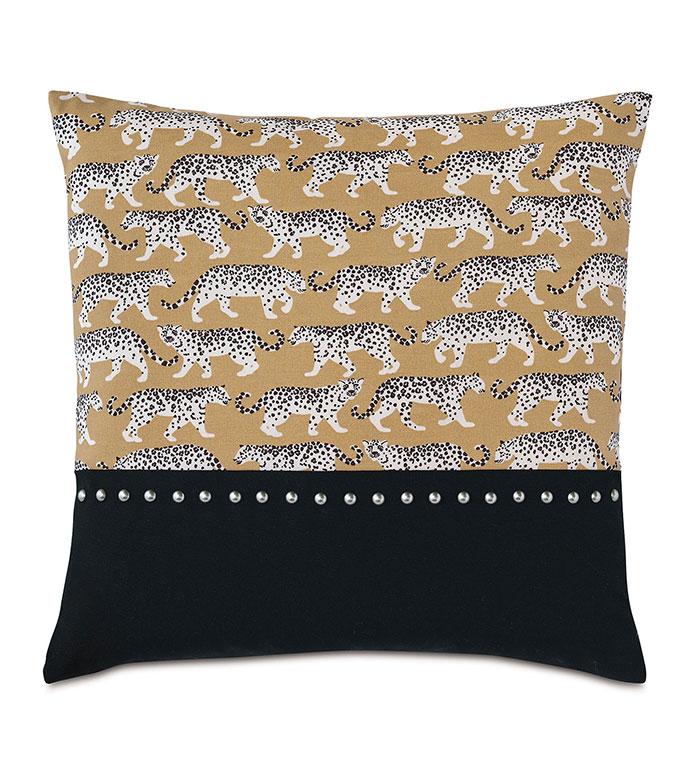 Prowling Nailhead Decorative Pillow - ,22X22 PILLOW,SQUARE PILLOW,LARGE PILLOW,OUTDOOR PILLOW,OUTDOOR DECOR,TIGER PRINT,TIGER PRINT PILLOW,COLORBLOCK PILLOW,NAILHEADS,EXOTIC PRINT,