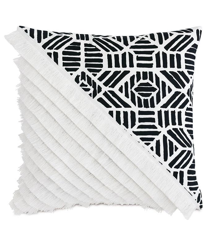 Madaba Colorblock Decorative Pillow (Left) - ,20x20 pillow,black and white pillow,knife edge pillow,brush fringe,fringe pillow,colorblock,ethnic print,outdoor pillow,square pillow,outdoor throw pillow,outdoor decor,