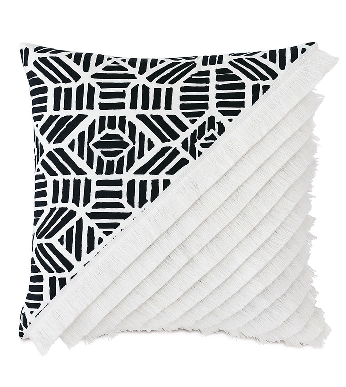 Madaba Colorblock Decorative Pillow (Right) - ,20x20 pillow,black and white pillow,knife edge pillow,brush fringe,fringe pillow,colorblock,ethnic print,outdoor pillow,square pillow,outdoor throw pillow,outdoor decor,