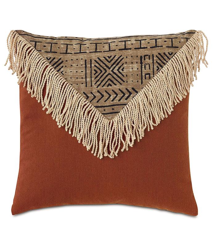 Seydou Color Block Decorative Pillow in Natural - ,20X20 PILLOW,FRINGE DETAIL,FRINGE PILLOW,ETHNIC PRINT,MEDIUM PILLOW,SQUARE PILLOW,GLOBAL DECOR,OUTDOOR PILLOW,OUTDOOR DECOR,COLORBLOCK PILLOW,