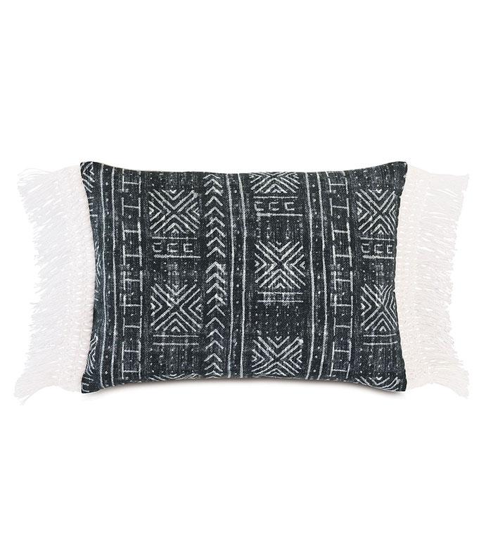 Seydou Fringe Decorative Pillow in Black - ,RECTANGLE PILLOW,FRINGE DETAIL,FRINGE PILLOW,ETHNIC PRINT,LARGE PILLOW,SQUARE PILLOW,GLOBAL DECOR,OUTDOOR PILLOW,OUTDOOR DECOR,ABSTRACT PRINT,