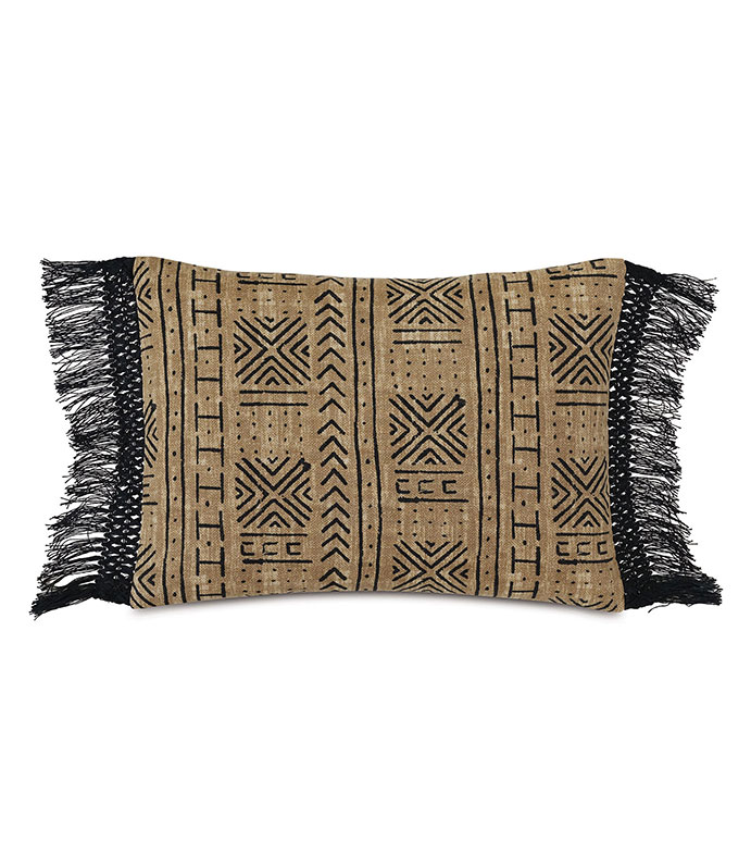 Seydou Fringe Decorative Pillow in Natural - ,RECTANGLE PILLOW,FRINGE DETAIL,FRINGE PILLOW,ETHNIC PRINT,LARGE PILLOW,SQUARE PILLOW,GLOBAL DECOR,OUTDOOR PILLOW,OUTDOOR DECOR,ABSTRACT PRINT,