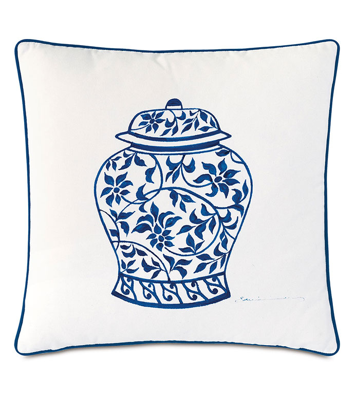 Porcelain Ginger Jar Decorative Pillow - ,20X20 PILLOW,DECORATIVE PILLOW,HANDPAINTED PILLOW,OUTDOOR PILLOW,OUTDOOR DECOR,SQUARE PILLOW,WHITE PILLOW,POTTERY DESIGN,MEDIUM PILLOW,