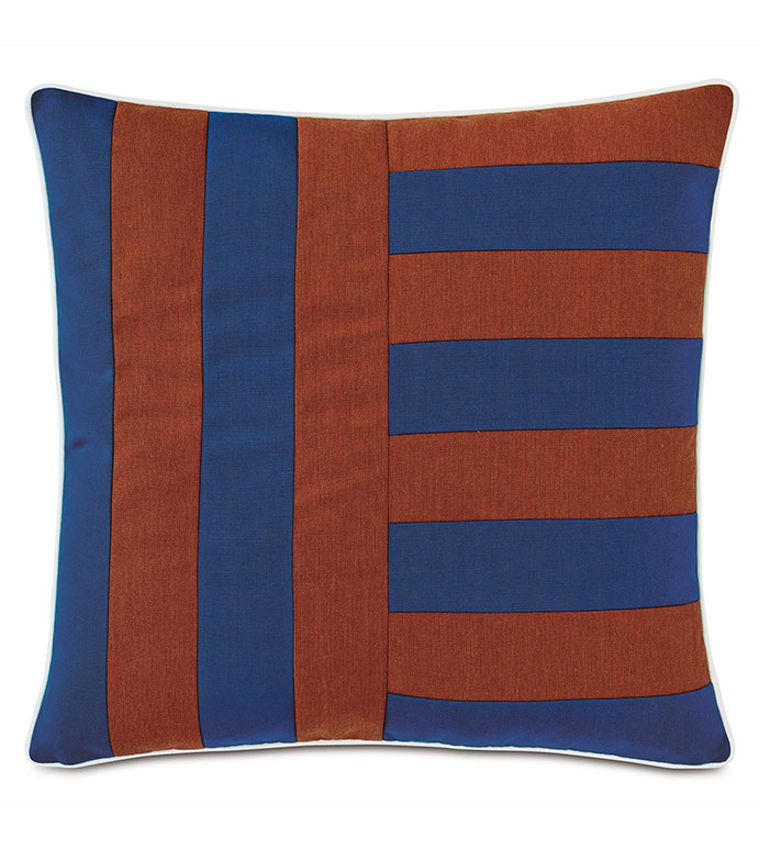 Plage Striped Decorative Pillow in Admiral - ,22X22 PILLOW,LARGE PILLOW,SQUARE PILLOW,STRIPED PILLOW,OUTDOOR PILLOW,OUTDOOR THROW PILLOW,VERTICAL STRIPE,OUTDOOR DECOR,BLUE OUTDOOR PILLOW,COASTAL DECOR,