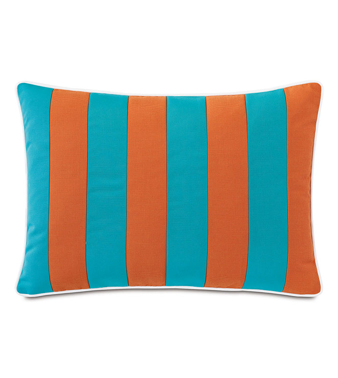 Plage Striped Decorative Pillow in Orange - ,RECTANGLE PILLOW,LARGE PILLOW,STRIPED BOLSTER PILLOW,STRIPED PILLOW,OUTDOOR PILLOW,OUTDOOR THROW PILLOW,VERTICAL STRIPE,OUTDOOR DECOR,BLUE OUTDOOR PILLOW,COASTAL DECOR,