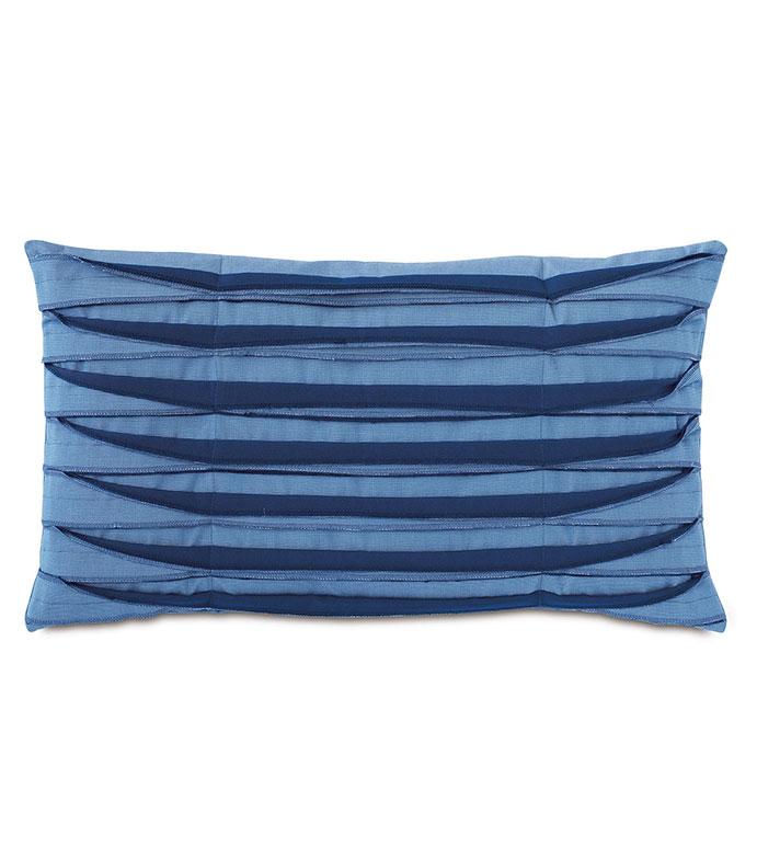 Plisse Pleated Decorative PIllow in Blue - ,rectangle pillow,blue pillow,unfinished edge,overlock edge,pleats,pleated pillow,outdoor pillow,outdoor decor,long pillow,medium pillow,nautical decor,