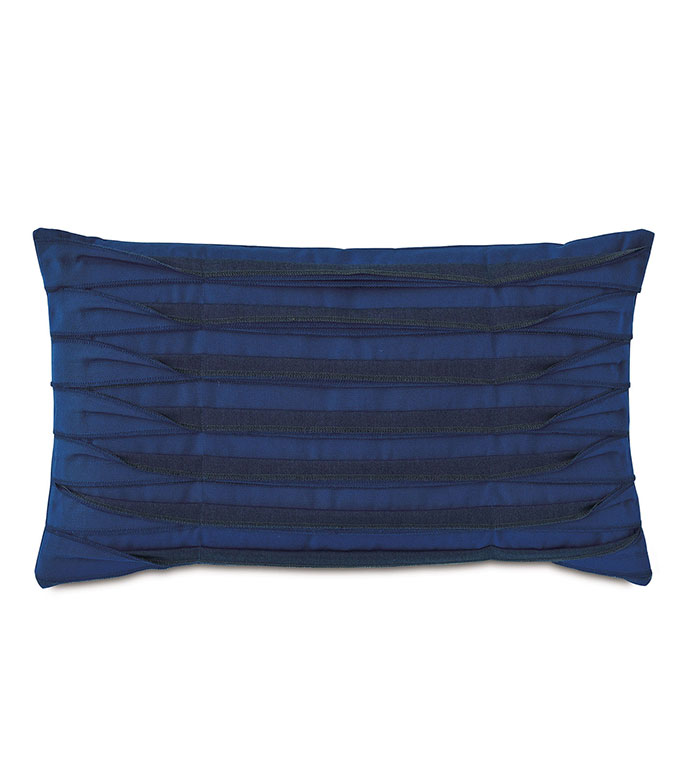 Plisse Pleated Decorative Pillow in Admiral - ,rectangle pillow,blue pillow,unfinished edge,overlock edge,pleats,pleated pillow,outdoor pillow,outdoor decor,long pillow,medium pillow,nautical decor,