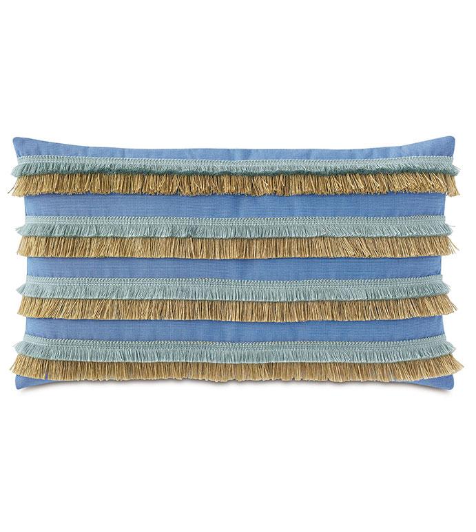 Nocatee Fringe Decorative Pillow in Blue - ,RECTANGLE PILLOW,DECORATIVE PILLOW,BRUSH FRINGE TRIM,FRINGE PILLOW,BLUE PILLOW,OUTDOOR PILLOW,TROPICAL PILLOW,OUTDOOR DECOR,WEATHER RESISTANT PILLOW,JUTE FRINGE,