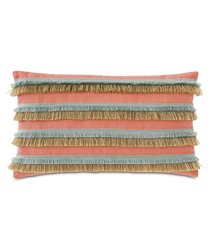 Nocatee Fringe Decorative Pillow in Carnation - ,RECTANGLE PILLOW,DECORATIVE PILLOW,BRUSH FRINGE TRIM,FRINGE PILLOW,CORAL PILLOW,OUTDOOR PILLOW,TROPICAL PILLOW,OUTDOOR DECOR,WEATHER RESISTANT PILLOW,JUTE FRINGE,