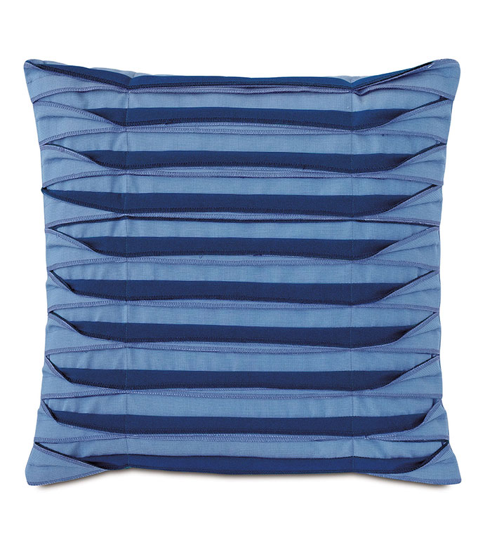 Plisse Pleated Decorative PIllow in Blue - ,20X20 PILLOW,BLUE PILLOW,UNFINISHED EDGE,OVERLOCK EDGE,PLEATS,PLEATED PILLOW,OUTDOOR PILLOW,OUTDOOR DECOR,SQUARE PILLOW,MEDIUM PILLOW,NAUTICAL DECOR,