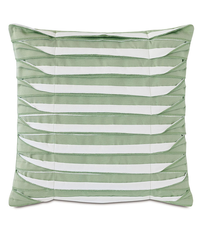 Plisse Pleated Decorative PIllow in Celadon - ,20X20 PILLOW,GREEN PILLOW,UNFINISHED EDGE,OVERLOCK EDGE,PLEATS,PLEATED PILLOW,OUTDOOR PILLOW,OUTDOOR DECOR,LONG PILLOW,MEDIUM PILLOW,OUTDOOR THROW PILLOW,