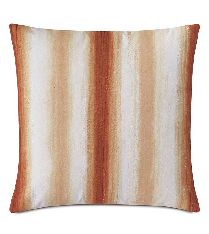 Talbot Handpainted Decorative Pillow in Orange - ,20X20 PILLOW,HANDPAINTED PILLOW,STRIPED PILLOW,OUTDOOR PILLOW,SQUARE PILLOW,MEDIUM PILLOW,HAND PAINTED DECOR,OUTDOOR DECOR,KNIFE EDGE PILLOW,