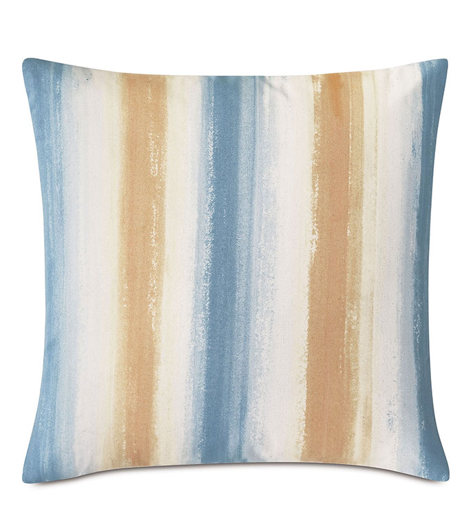 Talbot Handpainted Decorative Pillow in Blue - ,20X20 PILLOW,HANDPAINTED PILLOW,STRIPED PILLOW,OUTDOOR PILLOW,SQUARE PILLOW,MEDIUM PILLOW,HAND PAINTED DECOR,OUTDOOR DECOR,KNIFE EDGE PILLOW,