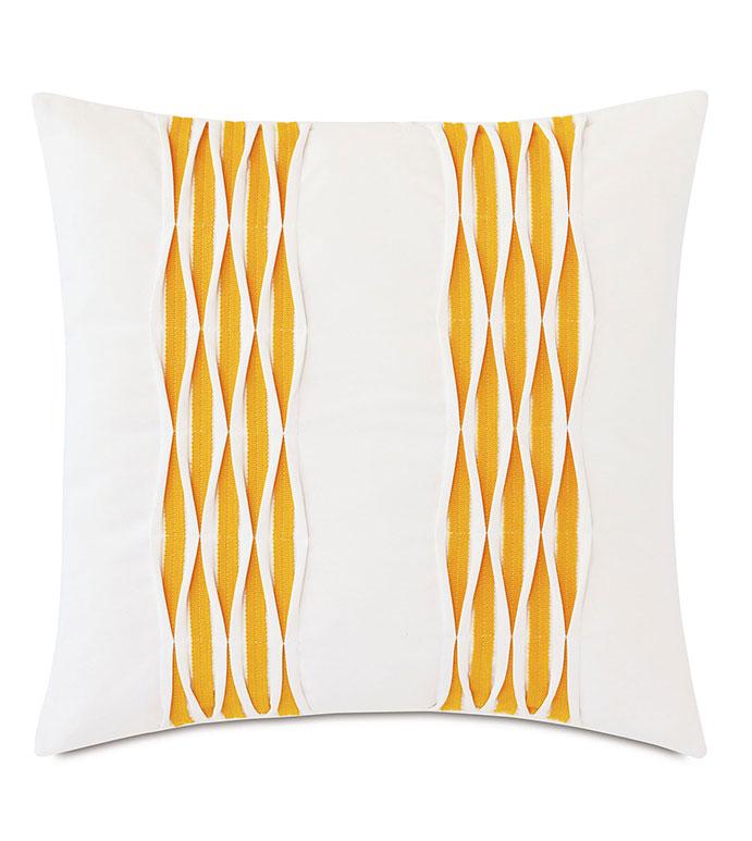 Tamaya Pintuck Decorative Pillow in Yellow - ,20X20 PILLOW,SQUARE PILLOW,WHITE PILLOW,MEDIUM PILLOW,PINTUCK DETAIL,TEXTURED PILLOW,OUTDOOR PILLOW,OUTDOOR DECOR,YELLOW PILLOW,KNIFE EDGE PILLOW,DECORATIVE PILLOW,