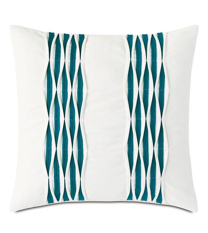 Tamaya Pintuck Decorative Pillow in Teal - ,20X20 PILLOW,SQUARE PILLOW,WHITE PILLOW,MEDIUM PILLOW,PINTUCK DETAIL,TEXTURED PILLOW,OUTDOOR PILLOW,OUTDOOR DECOR,TEAL PILLOW,KNIFE EDGE PILLOW,DECORATIVE PILLOW,