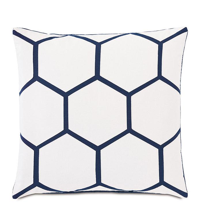Tamaya Hexagon Decorative Pillow in Indigo - ,18x18 pillow,square pillow,medium pillow,outdoor pillow,outdoor decor,laser cut design,laser cut pillow,hexagon design,geometric pillow,white pillow,