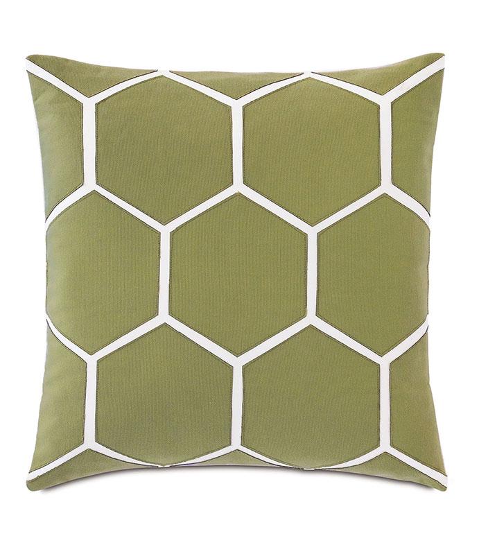 Tamaya Hexagon Decorative Pillow in Leaf - ,18X18 PILLOW,SQUARE PILLOW,MEDIUM PILLOW,OUTDOOR PILLOW,OUTDOOR DECOR,LASER CUT DESIGN,LASER CUT PILLOW,HEXAGON DESIGN,GEOMETRIC PILLOW,GREEN PILLOW,