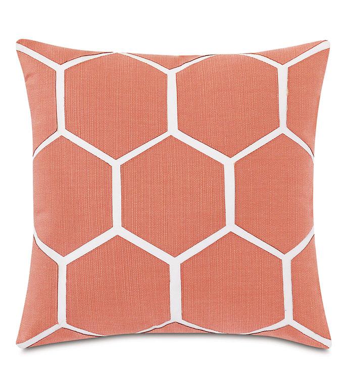 Tamaya Hexagon Decorative Pillow in Carnation - ,18X18 PILLOW,SQUARE PILLOW,MEDIUM PILLOW,OUTDOOR PILLOW,OUTDOOR DECOR,LASER CUT DESIGN,LASER CUT PILLOW,HEXAGON DESIGN,GEOMETRIC PILLOW,CORAL PILLOW,