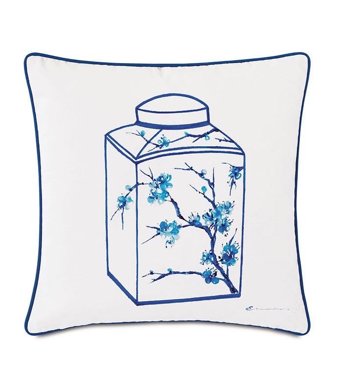 Porcelain Canister Decorative Pillow - ,20X20 PILLOW,DECORATIVE PILLOW,HANDPAINTED PILLOW,OUTDOOR PILLOW,OUTDOOR DECOR,SQUARE PILLOW,WHITE PILLOW,POTTERY DESIGN,MEDIUM PILLOW,