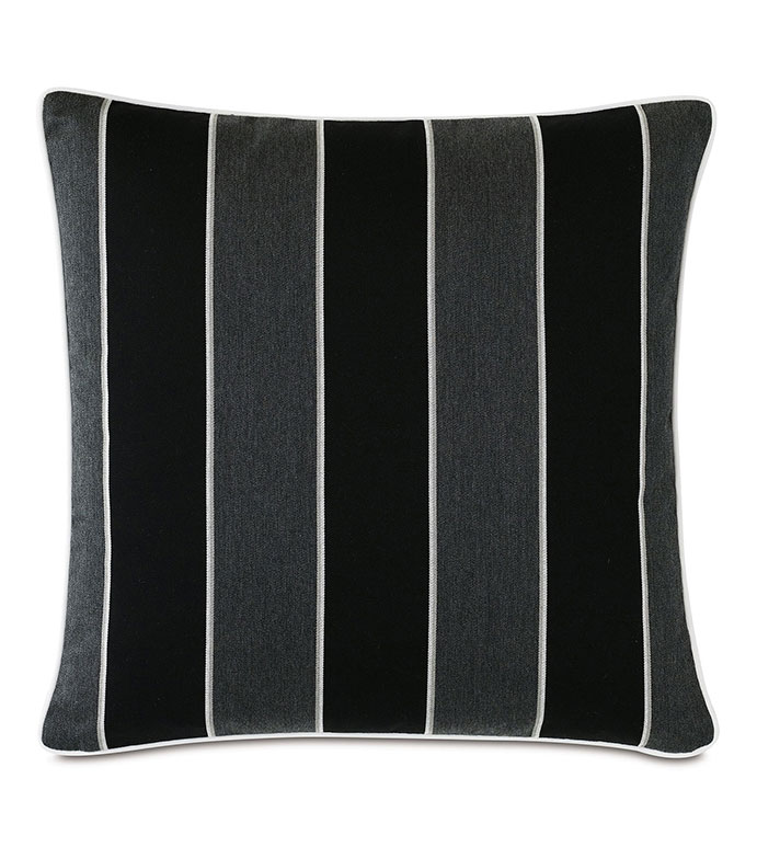 Arcos Vertical Stripe Decorative Pillow - ,22X22 PILLOW,STRIPED PILLOW,OUTDOOR PILLOW,OUTDOOR DECOR,BLACK PILLOW,MONOCHROME PILLOW,BLACK STRIPES,LUXURY OUTDOOR,PATIO DECOR,PATIO PILLOW,