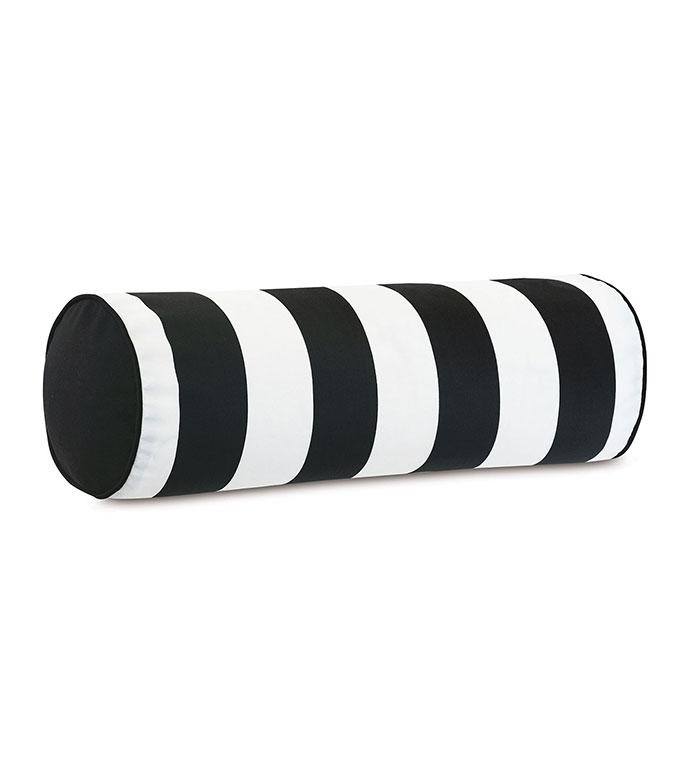 Kubo Vertical Stripe Bolster - ,BOLSTER PILLOW,OBLONG PILLOW,NECKROLL PILLOW,STRIPED BOLSTER,BLACK AND WHITE BOLSTER,OUTDOOR PILLOW,OUTDOOR DECOR,LARGE PILLOW,MONOCHROME DECOR,