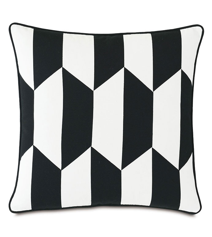 Kubo Patchwork Decorative Pillow - ,20X20 PILLOW,SQUARE PILLOW,LASER CUT PILLOW,BALCK AND WHITE PILLOW,GEOMETRIC PILLOW,OUTDOOR PILLOW,OUTDOOR DECOR,MONOCHROME PILLOW,MEDIUM PILLOW,