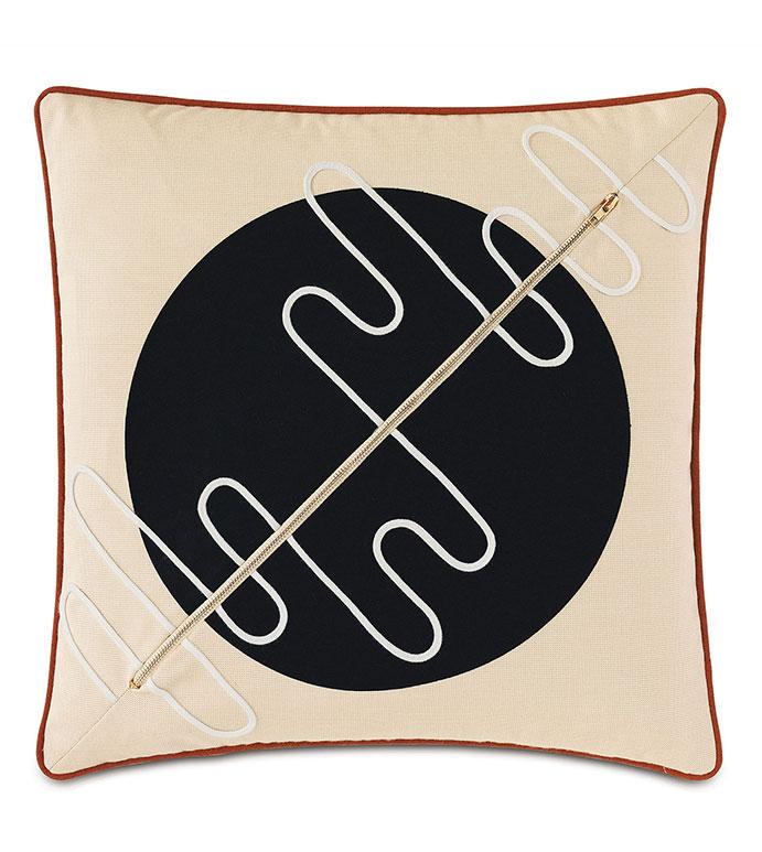 Belleair Zipper Decorative Pillow in Black - ,OUTDOOR PILLOW,LASERCUT PILLOW, APPLIQUE,OUTDOOR DECOR,BLACK  PILLOW,OUTDOOR DECOR,NEUTRAL PILLOW,OUTDOOR ZIPPER,MODERN PILLOW,LUXURY OUTDOOR,WATER RESISTANT PILLOW,PATIO PILLOW,