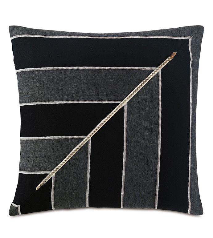 Arcos Zipper Decorative Pillow - ,20X20 PILLOW,STRIPED PILLOW,OUTDOOR ZIPPER,ZIPPER PILLOW,OUTDOOR PILLOW,BLACK PILLOW,OUTDOOR DECOR,MONOCHROME PILLOW,LUXURY OUTDOOR,PATIO DECOR,PATIO PILLOW,