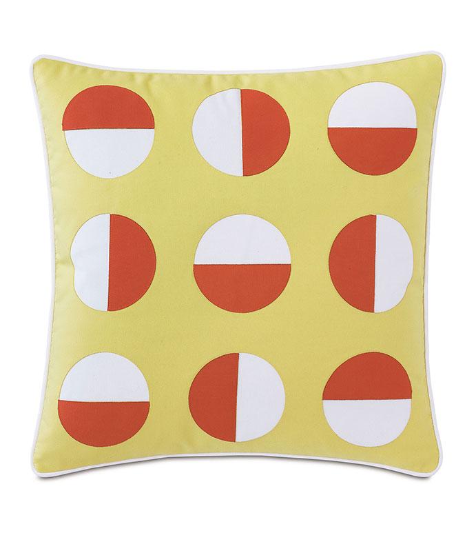 Kaleidoscope Applique Decorative Pillow in Lemon - ,20X20 PILLOW,OUTDOOR PILLOW,OUTDOOR DECOR,LASER CUT DESIGN,GEOMETRIC PILLOW,YELLOW PILLOW,WATER-RESISTANT PILLOW,BRIGHT PILLOW,LUXURY OUTDOOR,PATIO PILLOW,PATIO DECOR,