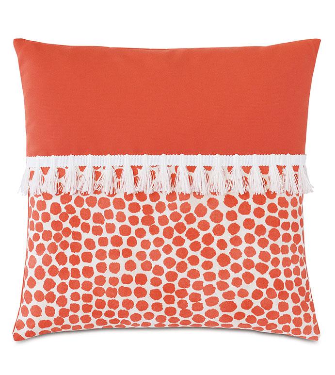 Toodles Fringe Decorative Pillow - ,20x20 pillow,square pillow,medium pillow,abstract print pillow,coral pillow,colorblock pillow,fringe pillow,outdoor pillow,outdoor decor,decorative pillow,outdoor throw pillow,