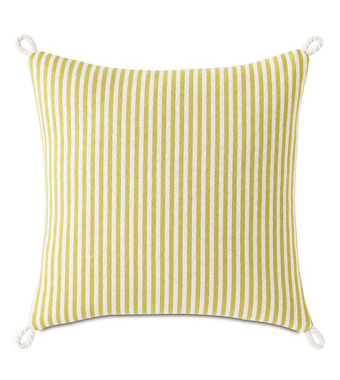 Villa Cord Knot Decorative Pillow in Lemon - ,18X18 PILLOW,REVERSIBLE PILLOW,SQUARE PILLOW,STRIPED PILLOW,CITRON PILLOW,TEAL PILLOW,COASTAL DECOR,NAUTICAL DECOR,OUTDOOR PILLOW,OUTDOOR DECOR,CORD EDGE,KNOT EDGE FINISH,
