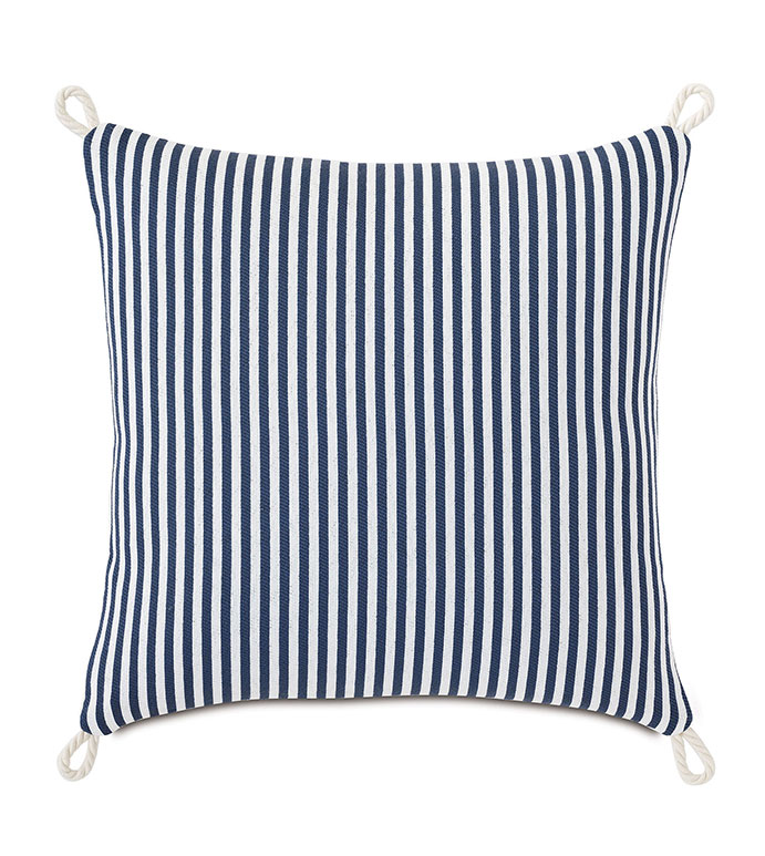 Villa Cord Knot Decorative Pillow in Navy - ,18X18 PILLOW,REVERSIBLE PILLOW,SQUARE PILLOW,STRIPED PILLOW,NAVY PILLOW,ORANGE PILLOW,COASTAL DECOR,NAUTICAL DECOR,OUTDOOR PILLOW,OUTDOOR DECOR,CORD EDGE,KNOT EDGE FINISH,