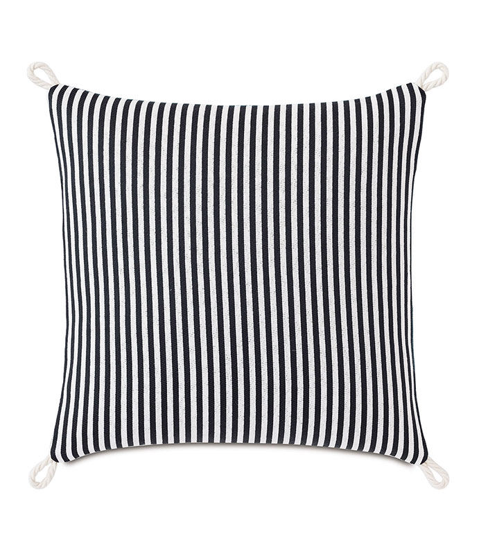Villa Cord Knot Decorative Pillow in Black - ,18X18 PILLOW,REVERSIBLE PILLOW,SQUARE PILLOW,STRIPED PILLOW,BLACK PILLOW,TEAL PILLOW,COASTAL DECOR,NAUTICAL DECOR,OUTDOOR PILLOW,OUTDOOR DECOR,CORD EDGE,KNOT EDGE FINISH,