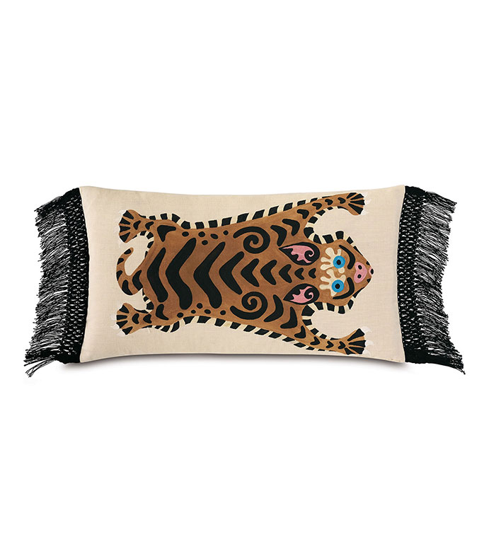 Guster Fringe Decorative Pillow - ,15X26 PILLOW,OVERSIZED PILLOW,FRINGE PILLOW,OUTDOOR PILLOW, HANDPAINTED PILLOW,TIGER DESIGN,CHINOISERIE,OUTDOOR DECOR,TIGER PILLOW,LUXURY OUTDOOR,HANDPAINTED PILLOW,