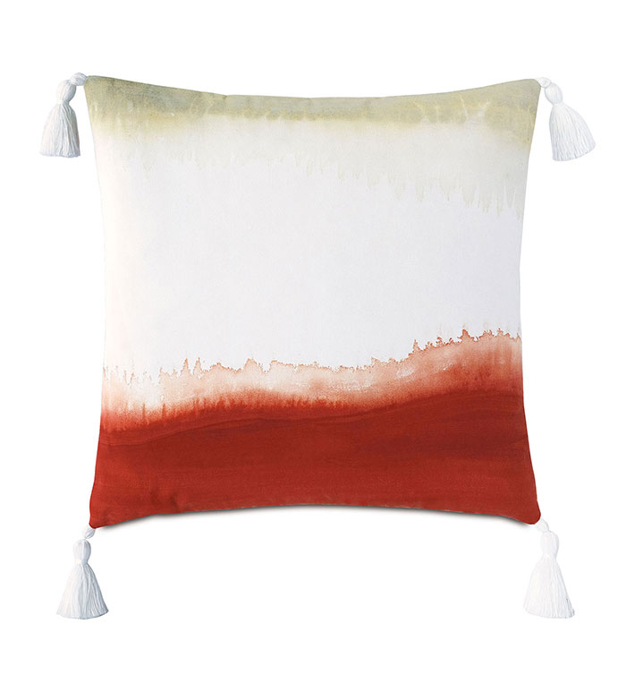 Talbot Handpainted Decorative Pillow in Rust - ,20X20 PILLOW,SQUARE PILLOW,MEDIUM PILLOW,OUTDOOR PILLOW,OUTDOOR DECOR,HADPAINTED PILLOW,TIE DYE PILLOW,RED OUTDOOR PILLOW,DECORATIVE PILLOW,TASSELS,TASSEL PILLOW,WHITE PILLOW,
