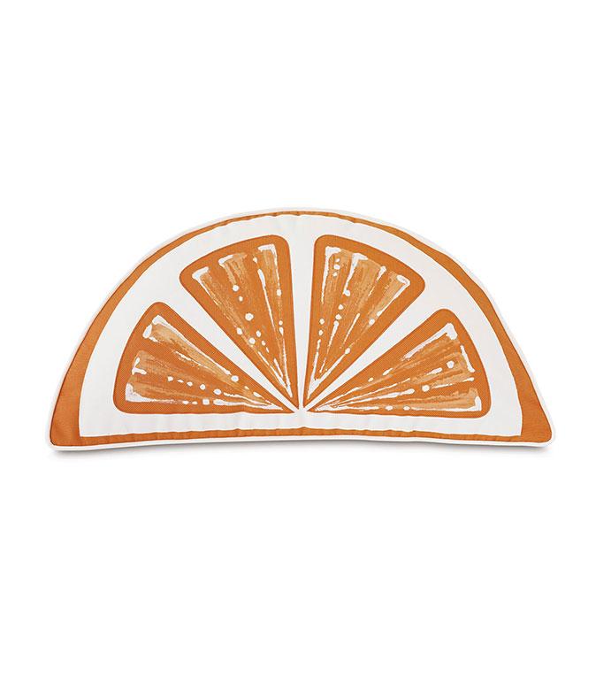 Palencia Handpainted Citrus Decorative Pillow in Orange - ,WEDGE PILLOW,CITRUS SHAPE PILLOW,HAND-PAINTED PILLOW,ORANGE PILLOW,OUTDOOR PILLOW,LASER CUT PILLOW,LARGE OUTDOOR PILLOW,OUTDOOR DECOR,WEDGE SHAPE,