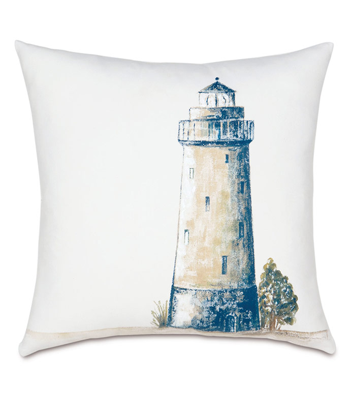 Lighthouse Handpainted Decorative Pillow - PILLOW,OUTDOOR,HANDPAINTED,COASTAL,NEUTRAL,LIGHTHOUSE,WATERPROOF,WEATHERPROOF,SUNBRELLA,HANDPAINTED OUTDOOR PILLOW,HANDPAINTED LIGHTHOUSE,OUTDOOR LIGHTHOUSE PILLOW,NAUTICAL,