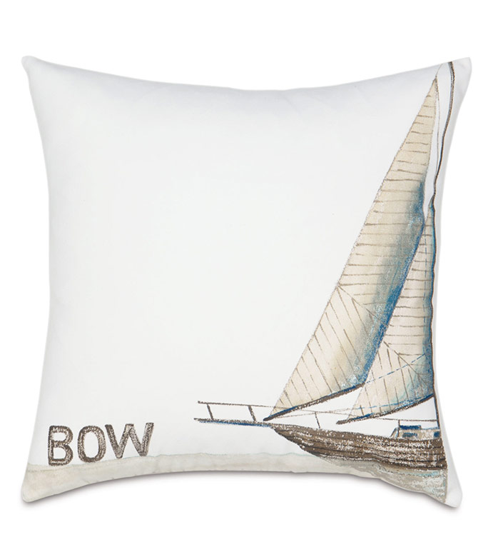 Bow Handpainted Decorative Pillow - PILLOW,OUTDOOR,SUNBRELLA,WATERPROOF,WEATHERPROOF,OUTDOOR PILLOW,SHIP,SAILING,YACHT,REGATTA,BOW,HANDPAINTED,NEUTRAL,COASTAL,NAUTICAL,MARITIME,THROW PILLOW,DECORATIVE PILLOW,BOAT,