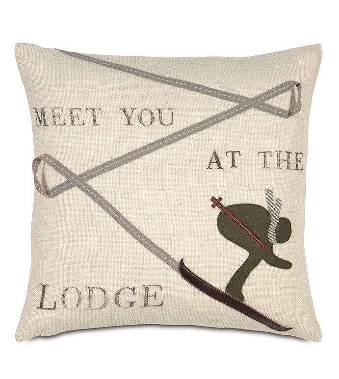 Lodge Burlap Decorative Pillow - ,BURLAP FABRIC,BURLAP PILLOW,BURLAP,RUSTIC PILLOW,RUSTIC DECOR,LODGE DECOR,LODGE PILLOW,MOUNTAIN DECOR,LUXURY LODGE,SKI PILLOW,SKIING DECOR,BLOCKPRINTING,BLOCK PRINTED PILLOW,