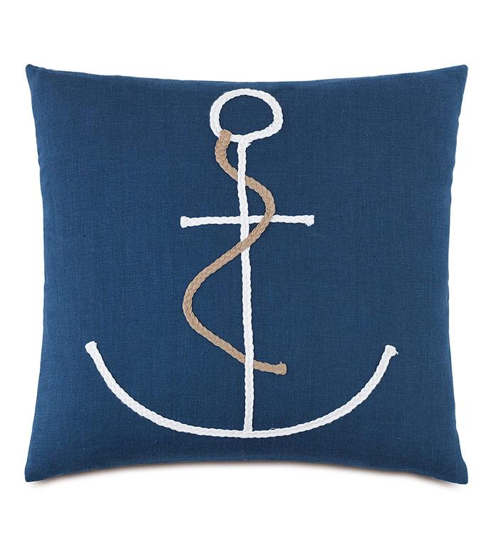 Isle Braided Anchor Decorative Pillow - ,BLUE PILLOW,NAUTICAL PILLOW,NAUTICAL DECOR,LINEN PILLOW,BLUE LINEN,BRAIDED DESIGN,ANCHOR,BRAIDED ANCHOR,ANCHOR PILLOW,COASTAL PILLOW,COASTAL DECOR,INDIGO PILLOW,NAVY LINEN,