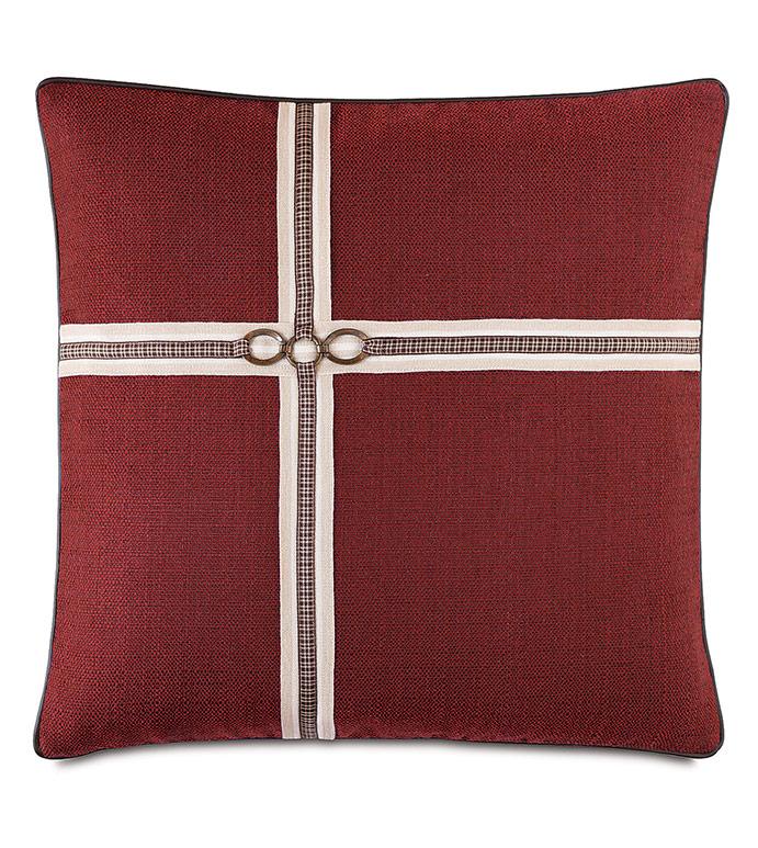 Kilbourn Houndstooth Ribbon Decorative Pillow - ,20X20 PILLOW,RED PILLOW,EQUESTRIAN PILLOW,EQUESTRIAN DECOR,BUCKLE PILLOW,HOUNDSTOOTH PATTERN,HOUNDSTOOTH PILLOW,LUXURY PILLOW,TRADITIONAL DECOR,EQUESTRIAN BEDDING,