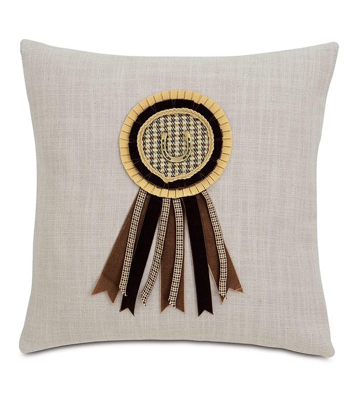Equestrian Ribbon Decorative Pillow - ,EQUESTRIAN DECOR,EQUESTRIAN PILLOW,HORSE RACING PILLOW,KENTUCKY DERBY,DERBY DECOR,EQUESTRIAN STYLE,AWARD RIBBON,TRADITIONAL DECOR,TRADITIONAL HOME,HORSE RIDING DECOR,