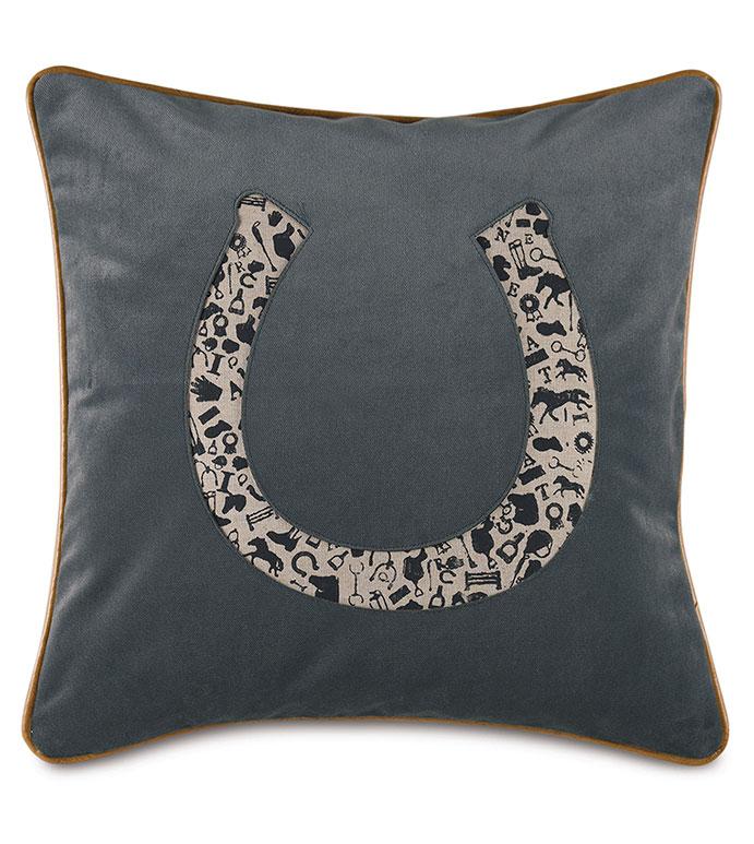 Arcaro Blockprinted Decorative Pillow in Horseshoe - ,GRAY PILLOW,CHARCOAL PILLOW,HORSESHOE PILLOW,EQUESTRIAN PILLOW,EQUESTRIAN DECOR,TRADITIONAL HOME,KENTUCKY DERBY,DERBY DECOR,HORSE RACING,BLOCK PRINTING,HOUNDSTOOTH,