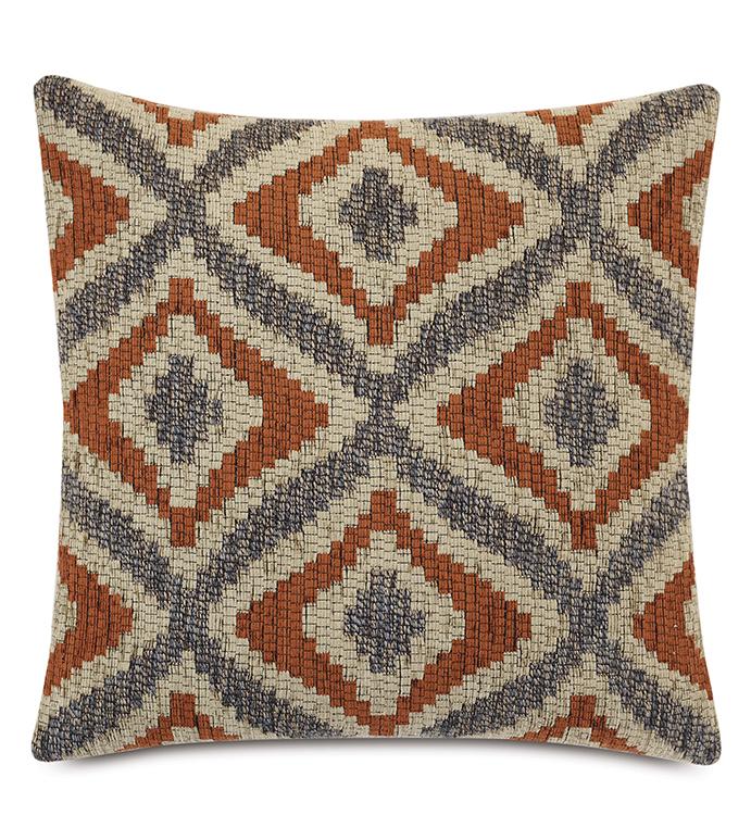 Monterosa Woven Decorative Pillow in Rust - ,22X22 PILLOW,RUST PILLOW,ORANGE PILLOW,LUXURY PILLOW,WOVEN PILLOW,TEXTURED PILLOW,IKAT PATTERN,GEOMETRIC PATTERN,LODGE DECOR,LODGE PILLOW,MOUNTAIN DECOR,COUNTRY DECOR,