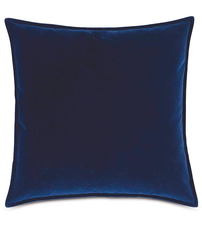 Plush Navy With Mini Flange - BLUE VELVET PILLOW,NAVY VELVET PILLOW,VELOUR PILLOW,DARK BLUE,NAVY,CLASSIC,TRADITIONAL,MENS ROOM BEDDING,SOLID BLUE PILLOW,VELVET PILLOW,MASCULINE,REVERSIBLE PILLOW,WELT EDGE