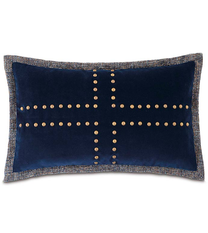 Plush Navy With Nailheads - NAILHEAD PILLOW,GOLD NAILHEAD PILLOW,NAILHEAD DESIGN,BRUSHED GOLD,NAVY VELVET PILLOW,NAVY AND GOLD,TRADITIONAL STYLE,MASCULINE,MENS BEDDING,CLASSIC,NAILHEAD ACCENT,BLUE AND GRAY