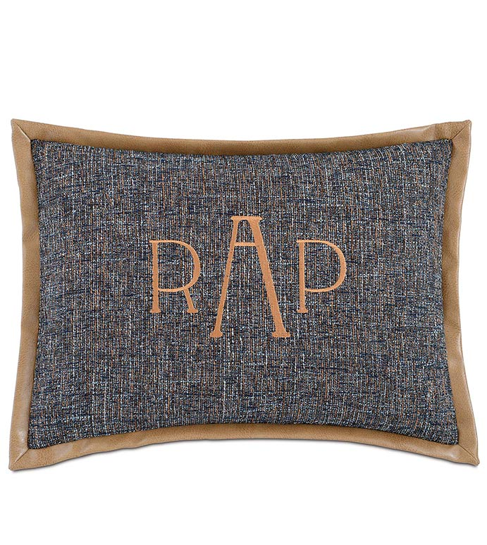 Rosenthal Dusk With Monogram - BLUE MONOGRAMMED PILLOW,BLUE AND GOLD,SADDLE LEATHER,LEATHER ACCENT,CLASSIC,TRADITONAL,LEATHER TRIM,MASCULINE BEDDING,MENS ROOM BEDDING,WOVEN,LARGE MONOGRAMMED PILLOW,VINYL
