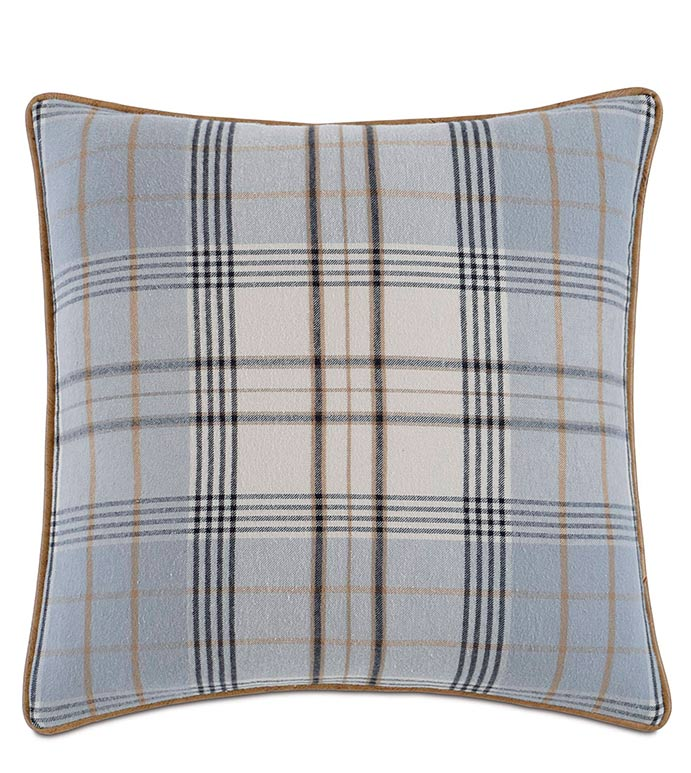 Magnus Steel With Sm Welt - GREY PLAID PILLOW,BLUE PLAID PILLOW,LARGE PLAID DESIGN,GRAY AND NAVY PLAID,MENS BEDROOM,CLASSIC,TRADITIONAL,MASCULINE,NEUTRAL,OXFORD STYLE,PLAID DECORATIVE PILLOW,GRAY,FLANNEL
