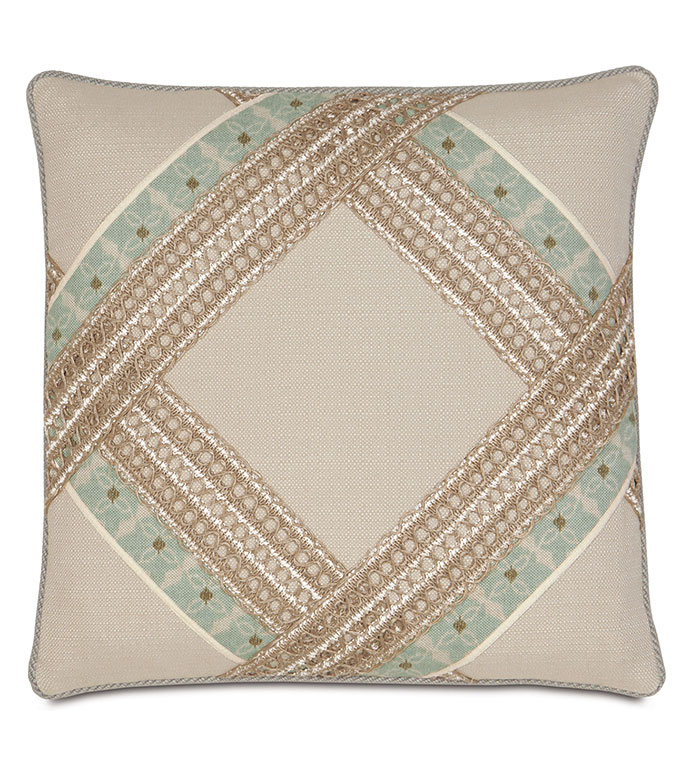 Vivo Bisque Diamond - BOHEMIAN DECORATIVE PILLOW,DIAMOND DESIGN,SHABBY CHIC DEC PILLOW,MACRAME,HEMP TRIM PILLOW,NEUTRAL,EARTH TONE,WOVEN,COASTAL,BEACH HOUSE,LAKE HOUSE,CONTEMPORARY,APPLIQUE,