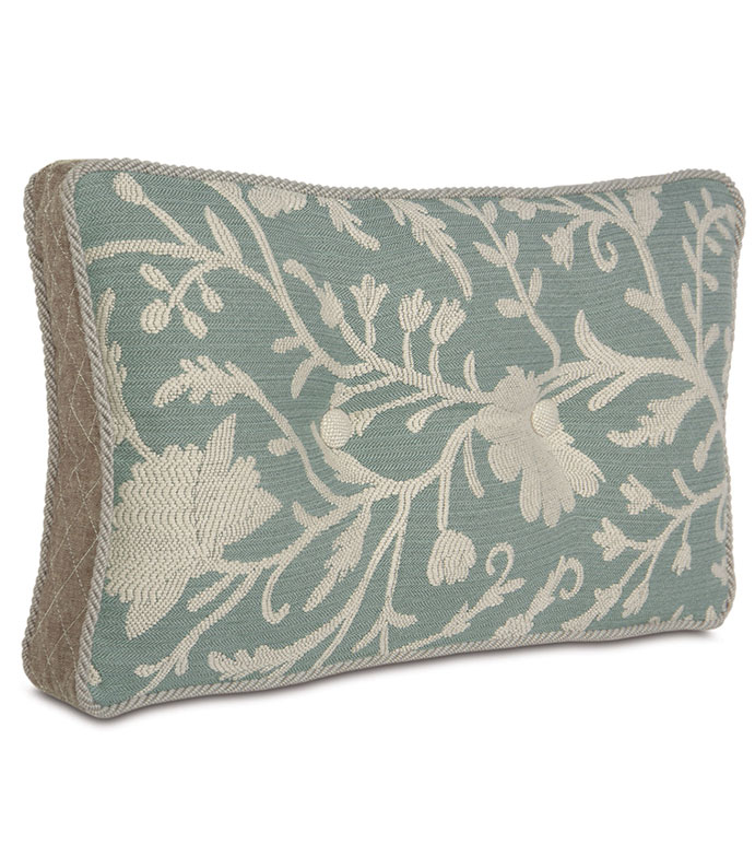 Avila Boxed And Tufted - BUTTON TUFTED PILLOW,DEEP TUFTED PILLOW,SHABBY CHIC TUFTED PILLOW,TURQUOISE AND BROWN,EARTH TONE,FLORAL DESIGN,LAKE HOUSE,BEACH HOUSE PILLOW,COASTAL BEDDING,WOVEN,BOXED PILLOW